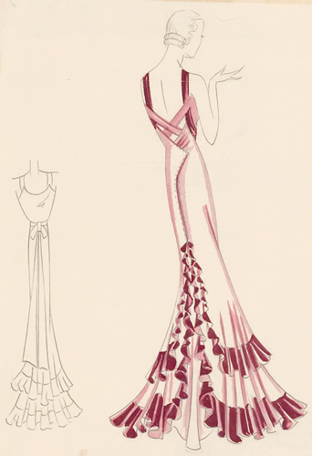 fashion illustration ruffles pl 27 mauve sleeveless gown with plum colored tiered