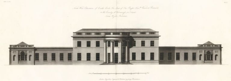 North West Elevation of Castle Coole The Seat of The Right Honorable Viscount Belmore. The New Vitruvius Britannicus; Consisting of Plans and Elevations of Modern Buildings, Public and Private, Erected in Great Britain by the Most Celebrated Architects. George Richardson.
