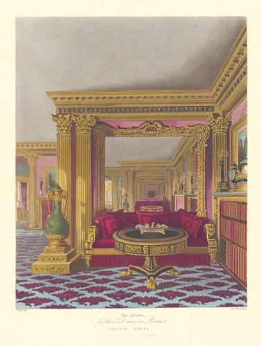 The Alcove, Golden Drawing Room, Carlton House. The History of the Royal Residences. W. H. Pyne, Pyne.