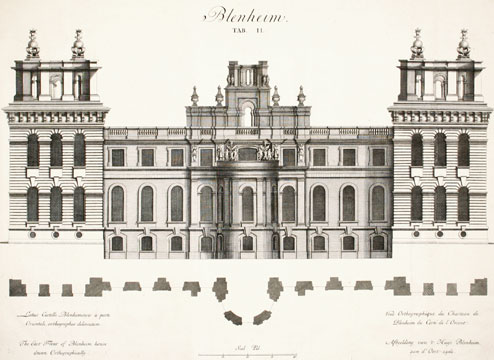 The East Front of Blenheim house drawn othographically. Britannia Illustrata. Johann Kip.