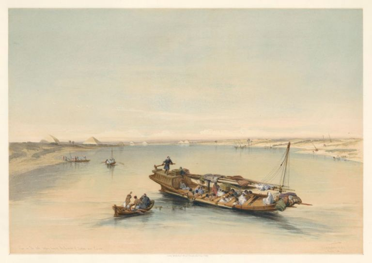 Slave Boat on the Nile. Egypt & Nubia. David Roberts.