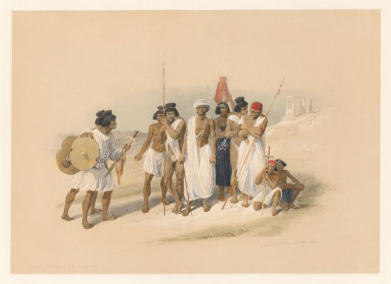 Group of Nubians at Wady Kardassy. Egypt and Nubia. David Roberts.