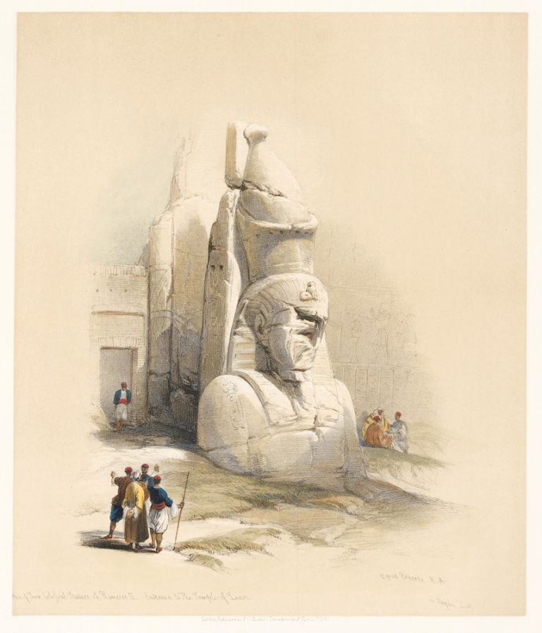 A Colossal Statue at the Entrance to the Temple of Luxor. Egypt and Nubia. David Roberts.