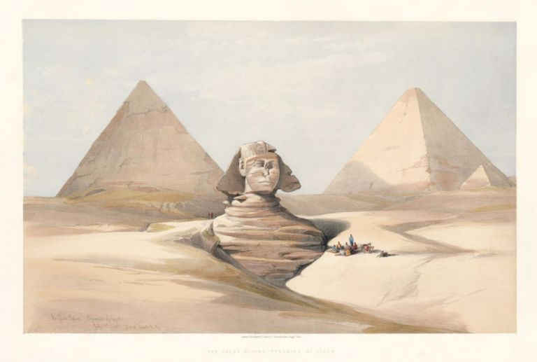the great sphinx pyramids at gizeh egypt and nubia david roberts