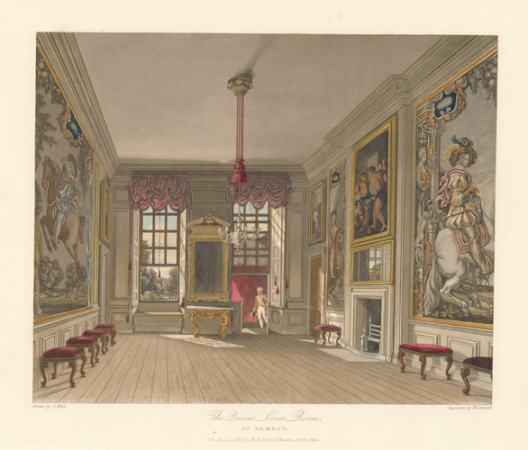 The Queen's Levee Room, St. James's. The History of the Royal Residences. W. H. Pyne, Pyne.