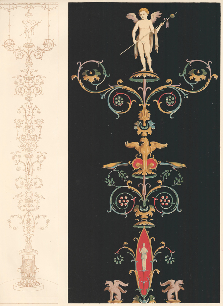 Portion of a Mural Painting in the Casa de Bronzi. Specimens of Ornamental Art. Lewis Gruner.