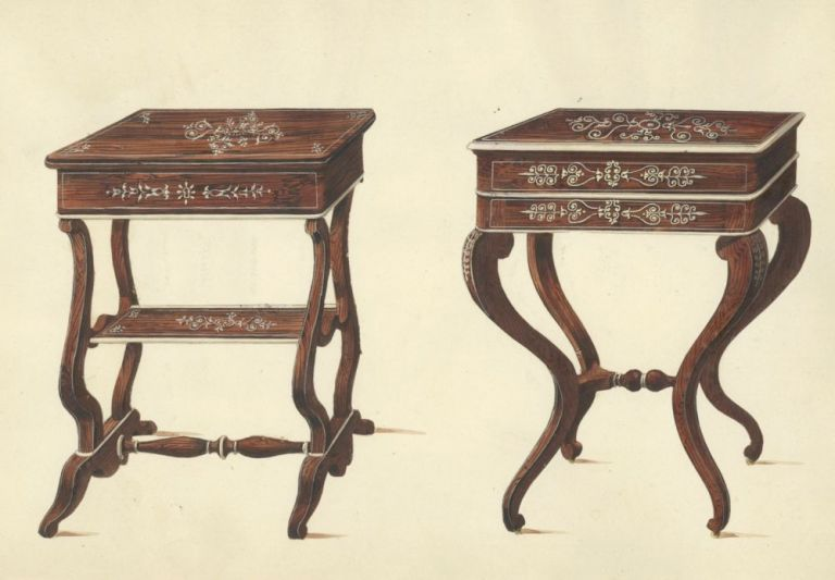 Two Small Tables. Table designs from a cabinet-maker's catalog of Charles X furniture. French School.