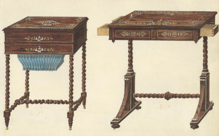 Sewing Table and Small Desk. Cabinet-maker's catalog of Charles X furniture. French School.