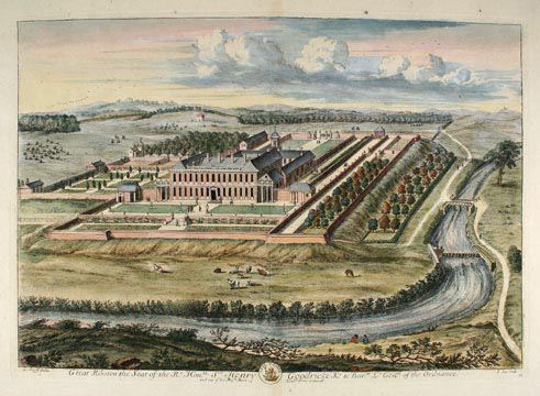 Plate 61. Great Ribston the Seat of the Rt. Honble. Sr. Henry Goodricke Kt. & Bartt. Lt. Genrll. Of the Ordnance. Britannia Illustrata or Views of Several of the Queen's Palaces. Johann Kip.