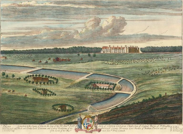 Pl. 21. Grimsthorp in the County of Lincoln the Seat of the Rt. Honble. Robt. Earle of Lindsey Lord great Chamberlain of England Baron of Willoughby Beck... Britannia Illustrata or Views of Several of the Queen's Palaces. Johann Kip.