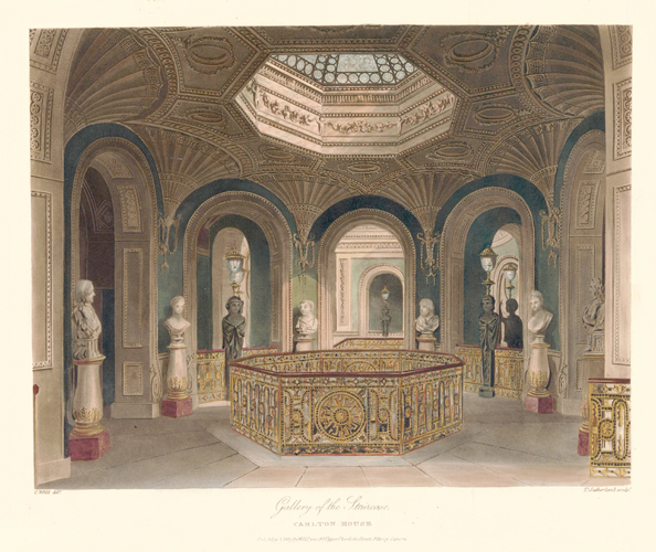 Gallery of the Staircase, Carlton House. The History of the Royal Residences. W. H. Pyne, Pyne.