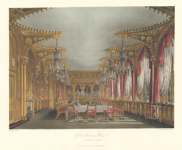 Gothic Dining Room, Carlton House. The History of the Royal Residences. W. H. Pyne, Pyne.