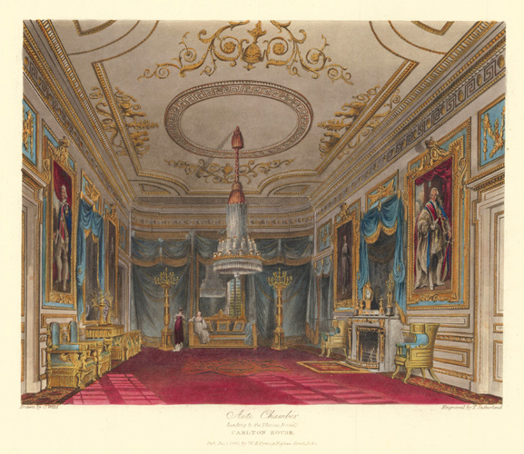 Ante Chamber, leading to the Throne Room, Carlton House. The History of the Royal Residences. W. H. Pyne, Pyne.