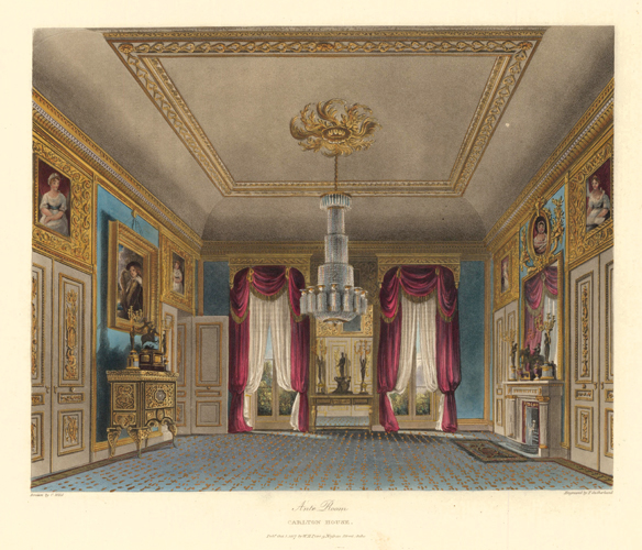 Ante Room, Carlton House. The History of the Royal Residences. W. H. Pyne, Pyne.