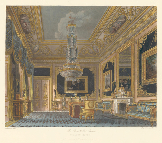 The Blue Velvet Room, Carlton House. The History of the Royal Residences. W. H. Pyne, Pyne.