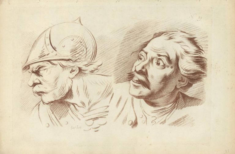Study of two male heads. Gabriel Smith.