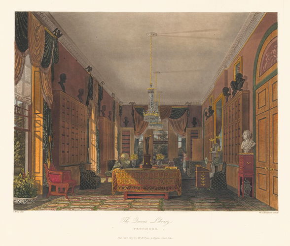 Queen's Library, Frogmore. The History of the Royal Residences. W. H. Pyne, Pyne.