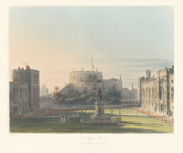 Upper Ward, Windsor Castle. The History of the Royal Residences. W. H. Pyne, Pyne.