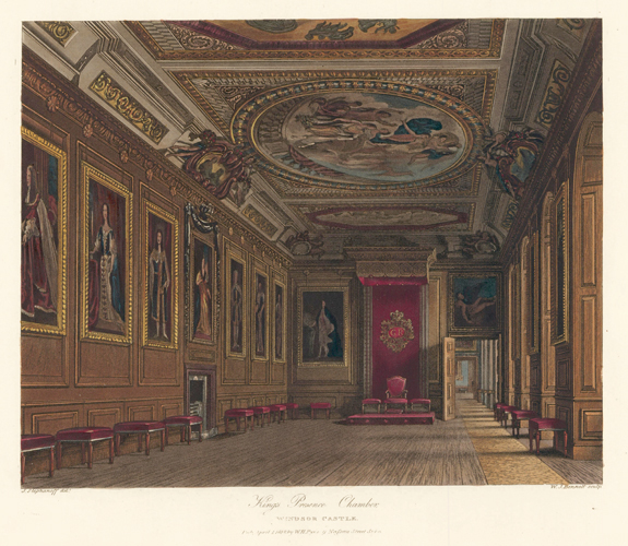 King's Presence Chamber, Windsor Castle. The History of the Royal Residences. W. H. Pyne, Pyne.