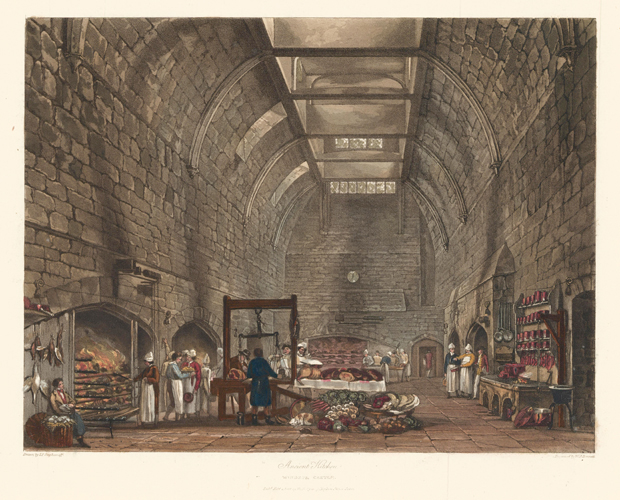 Ancient Kitchen, Windsor Castle. The History of the Royal Residences. W. H. Pyne.