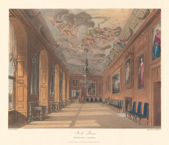 Ballroom, Windsor Castle. The History of the Royal Residences. W. H. Pyne.