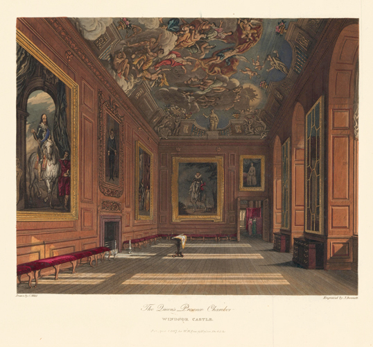 Queen's Presence Chamber, Windsor Castle. The History of the Royal Residences. W. H. Pyne, Pyne.