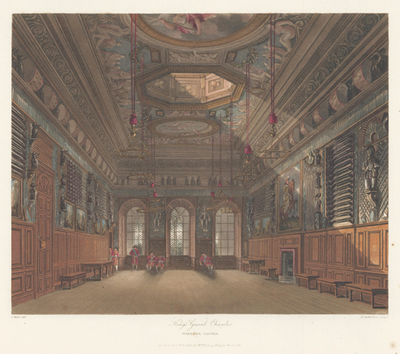 King's Guard Chamber, Windsor Castle. The History of the Royal Residences. W. H. Pyne, Pyne.
