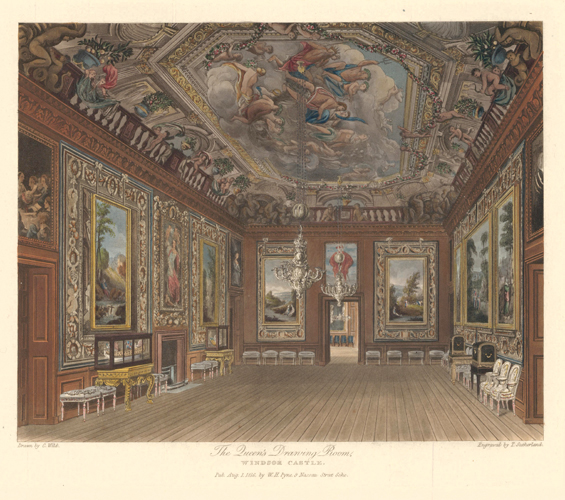 Queen's Drawing Room, Windsor Castle. The History of the Royal Residences. W. H. Pyne, Pyne.