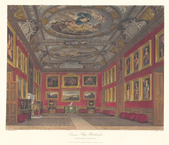 Queen's State Bedchamber, Windsor Castle. The History of the Royal Residences. W. H. Pyne, Pyne.