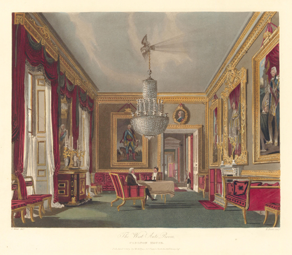 West Ante Room, Carlton House. The History of the Royal Residences. W. H. Pyne, Pyne.