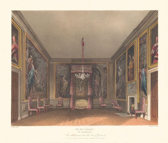 Old Bed Chamber, St. James's. The History of the Royal Residences. W. H. Pyne, Pyne.
