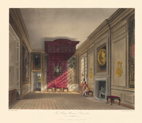 King's Presence Chamber, St. James's. The History of the Royal Residences. W. H. Pyne, Pyne.