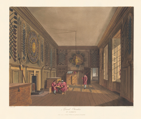 Guard Chamber, St. James's. The History of the Royal Residences. W. H. Pyne, Pyne.