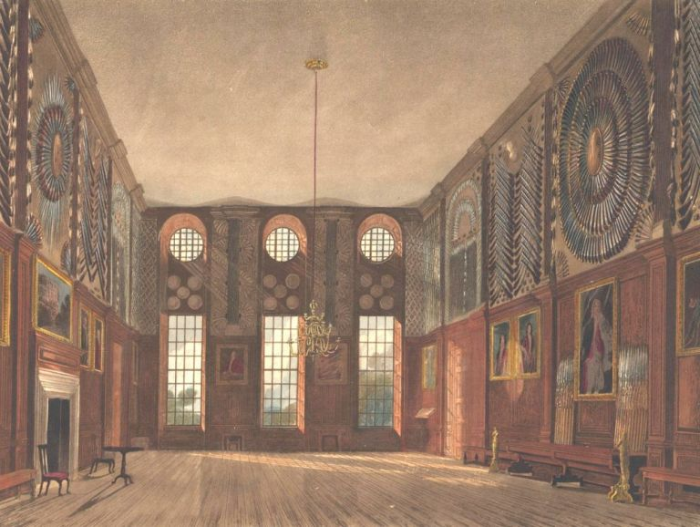 Guard Chamber, Hampton Court Palace. The History of the Royal Residences. W. H. Pyne.