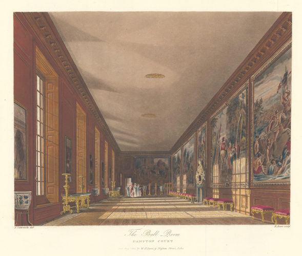 Ball Room, Hampton Court Palace. The History of the Royal Residences. W. H. Pyne.