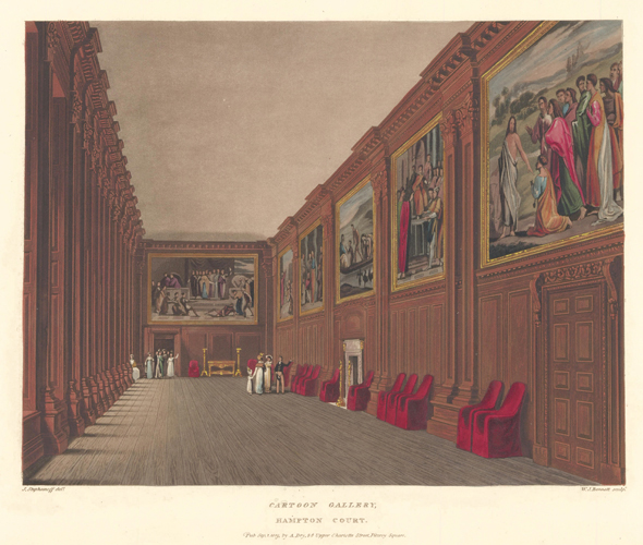 Cartoon Gallery, Hampton Court Palace. The History of the Royal Residences. W. H. Pyne.