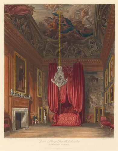 Queen Mary's State Bed-chamber, Hampton Court Palace. The History of the Royal Residences. W. H. Pyne, Pyne.