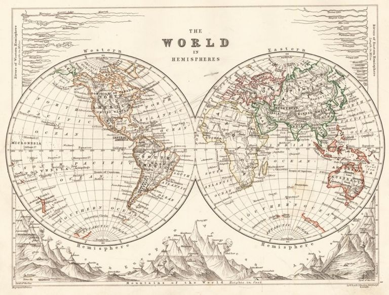 The World in Hemispheres. The Cabinet Atlas of the World. Alexander Keith Johnston.
