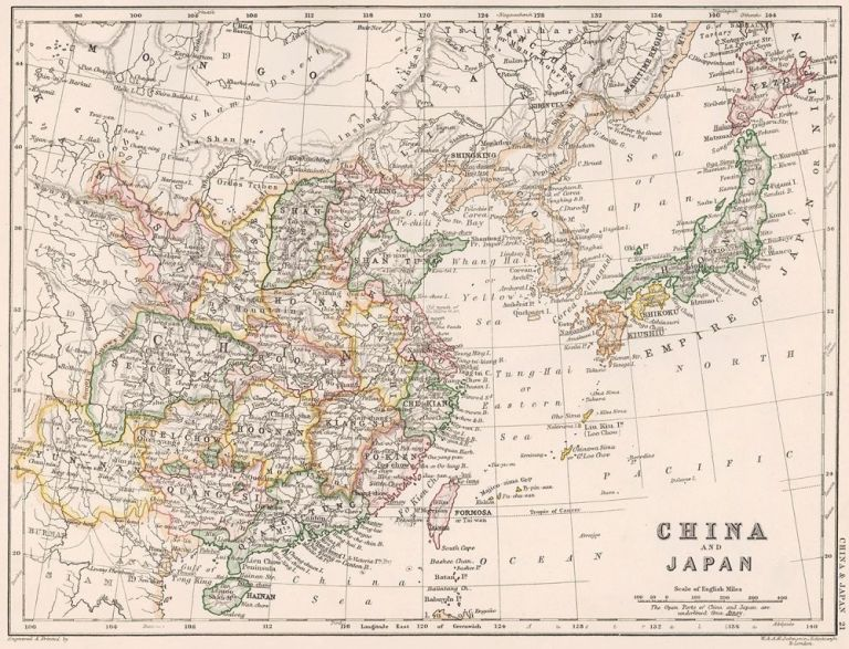 China and Japan. The Cabinet Atlas of the World. Alexander Keith Johnston.