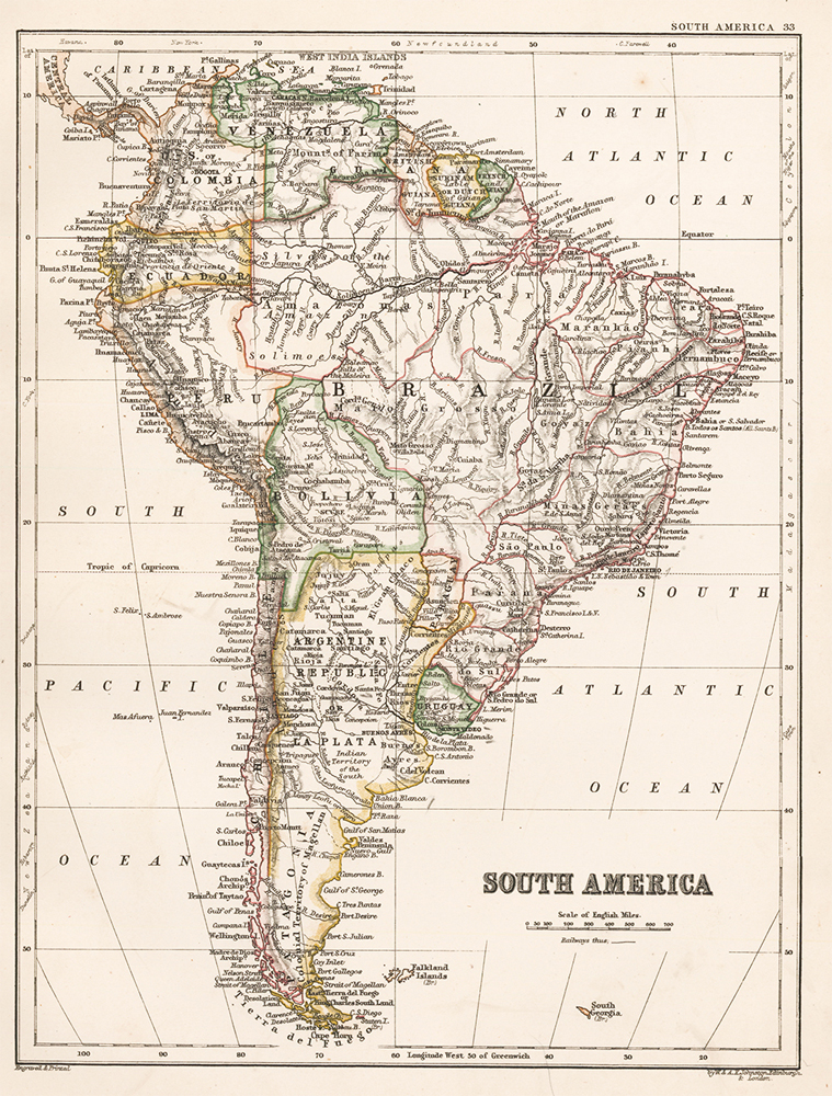 South America. The Cabinet Atlas of the World. Alexander Keith Johnston.