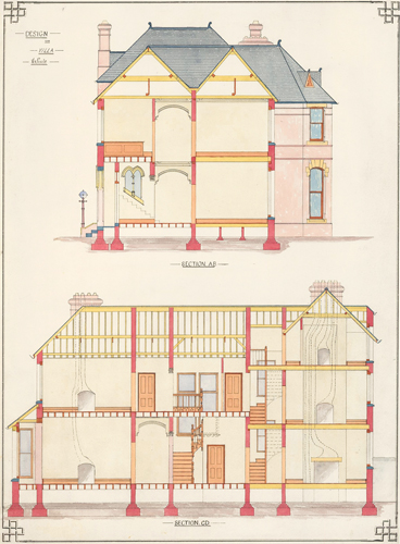 Section A.B. and Section C.D. Design for Villa Residence. F. Reginald Watson.