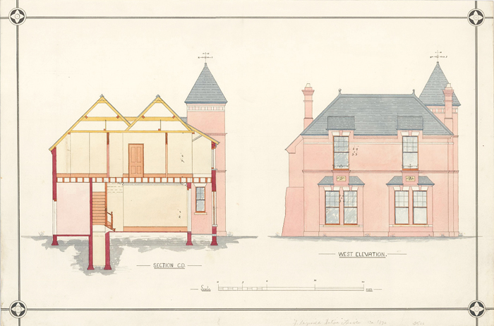 Section C.D. and West Elevation of a Villa. F. Reginald Watson.