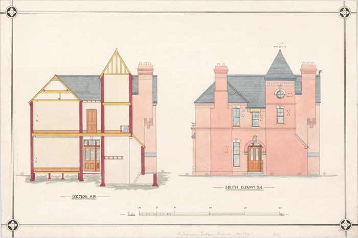 Section A.B. and South Elevation of a Villa. F. Reginald Watson.