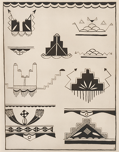 Symbolic Cloud, Lightning and Rain, from Cochiti pottery. American Indian Designs. Inez B. Westlake.