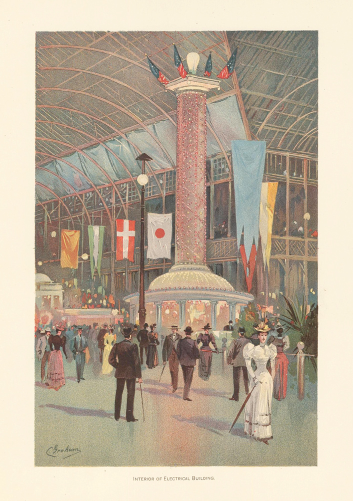 Interior of Electrical Building. The World's Fair in Water Colors. Charles S. Graham.