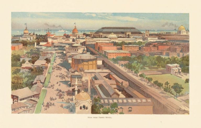 View from Ferris Wheel. The World's Fair in Water Colors. Charles S. Graham.
