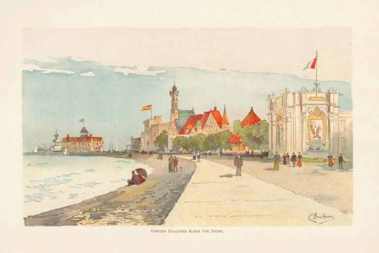 Foreign Building Along the Shore. The World's Fair in Water Colors. Charles S. Graham.