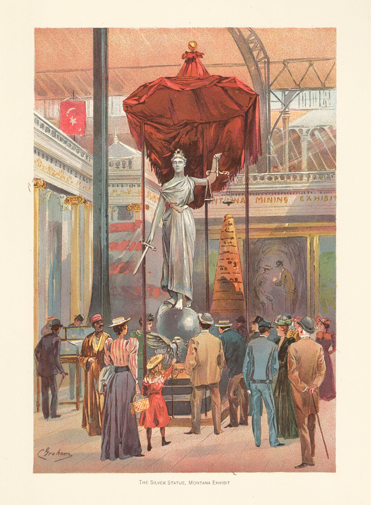 The Silver Statue, Montana Exhibit. The World's Fair in Water Colors. Charles S. Graham.