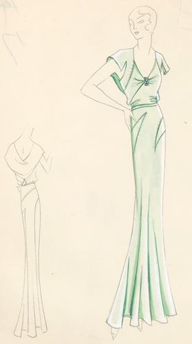 Pl. 17. Seafoam-green, cowl back gown with cut-out, caped sleeves ...