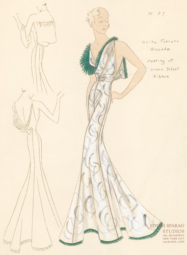 Pl. 27. White taffeta brocade gown with cowl neck, trimmed with pleated green velvet ribbon. Original Fashion Illustration. Edyth Sparag.